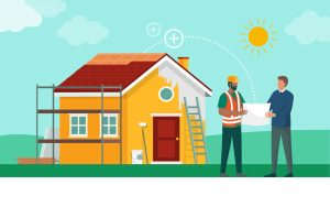 Homeowner discussing home renovation works with his contractor reflecting renovation loan contractors